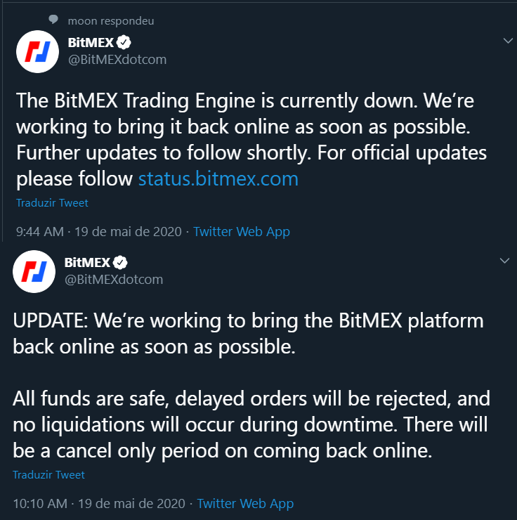 Tweet da BitMEX sobre o sistema fora do ar.