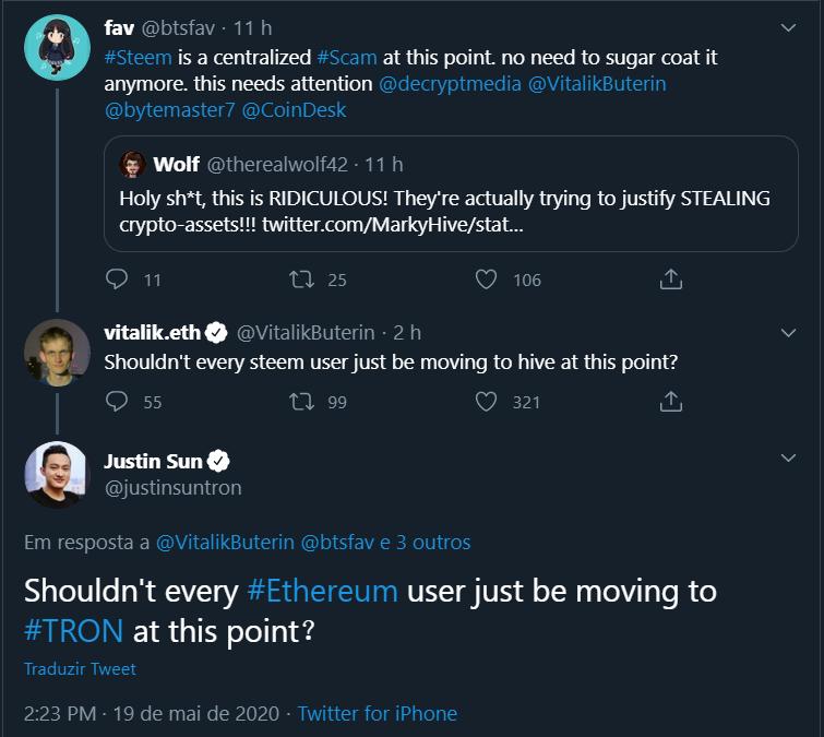 Justin Sun responde Vitalik no Twitter