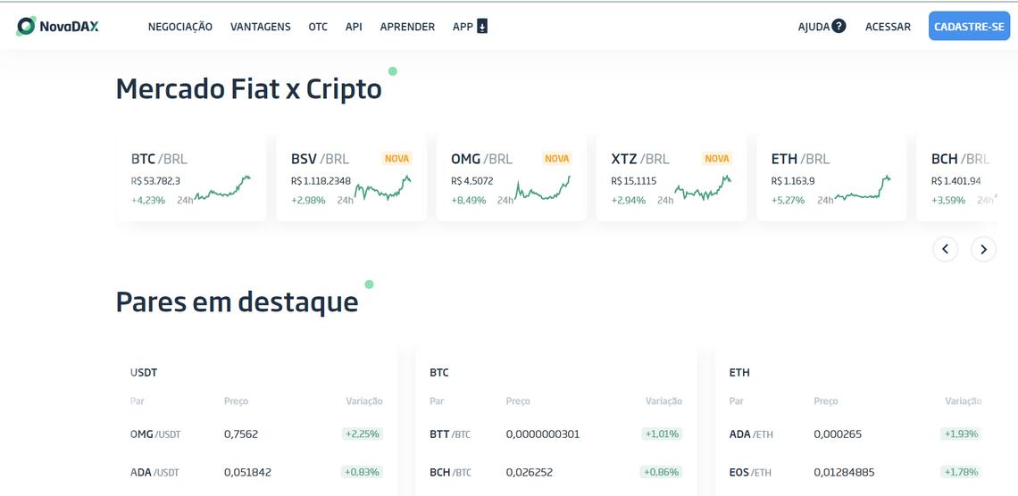 Homepage da NovaDAX