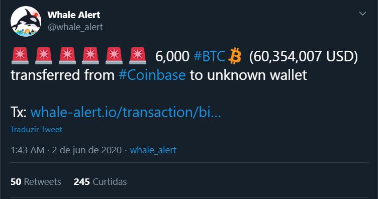 """6.000 BTC sacados da Coinbase numa """"tacada só"""""""
