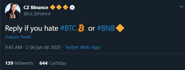 """""""Responda se você odeia o BTC ou o BNB"""""""