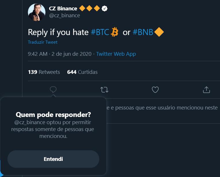 Resposta ao Tweet de CZ Binance é negada