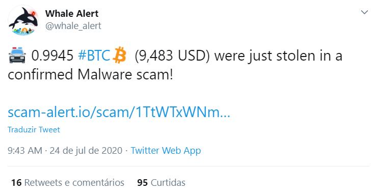 Vítima perdeu 1 BTC para malware
